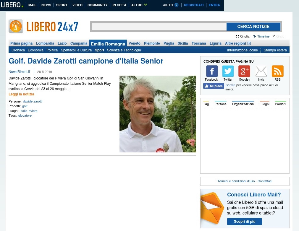 Golf. Davide Zarotti campione d'Italia Senior