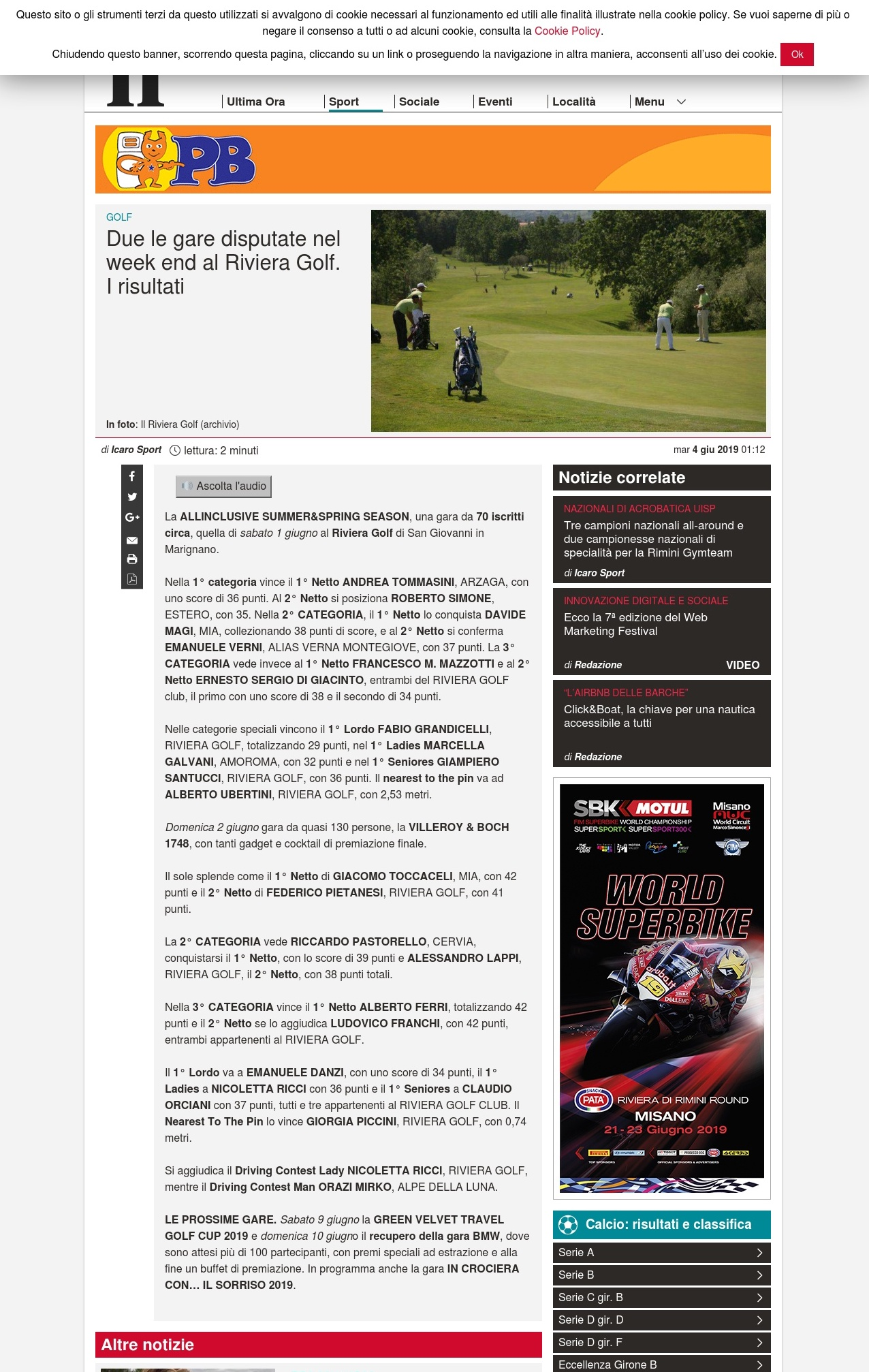 Due le gare disputate nel week end al Riviera Golf. I risultati