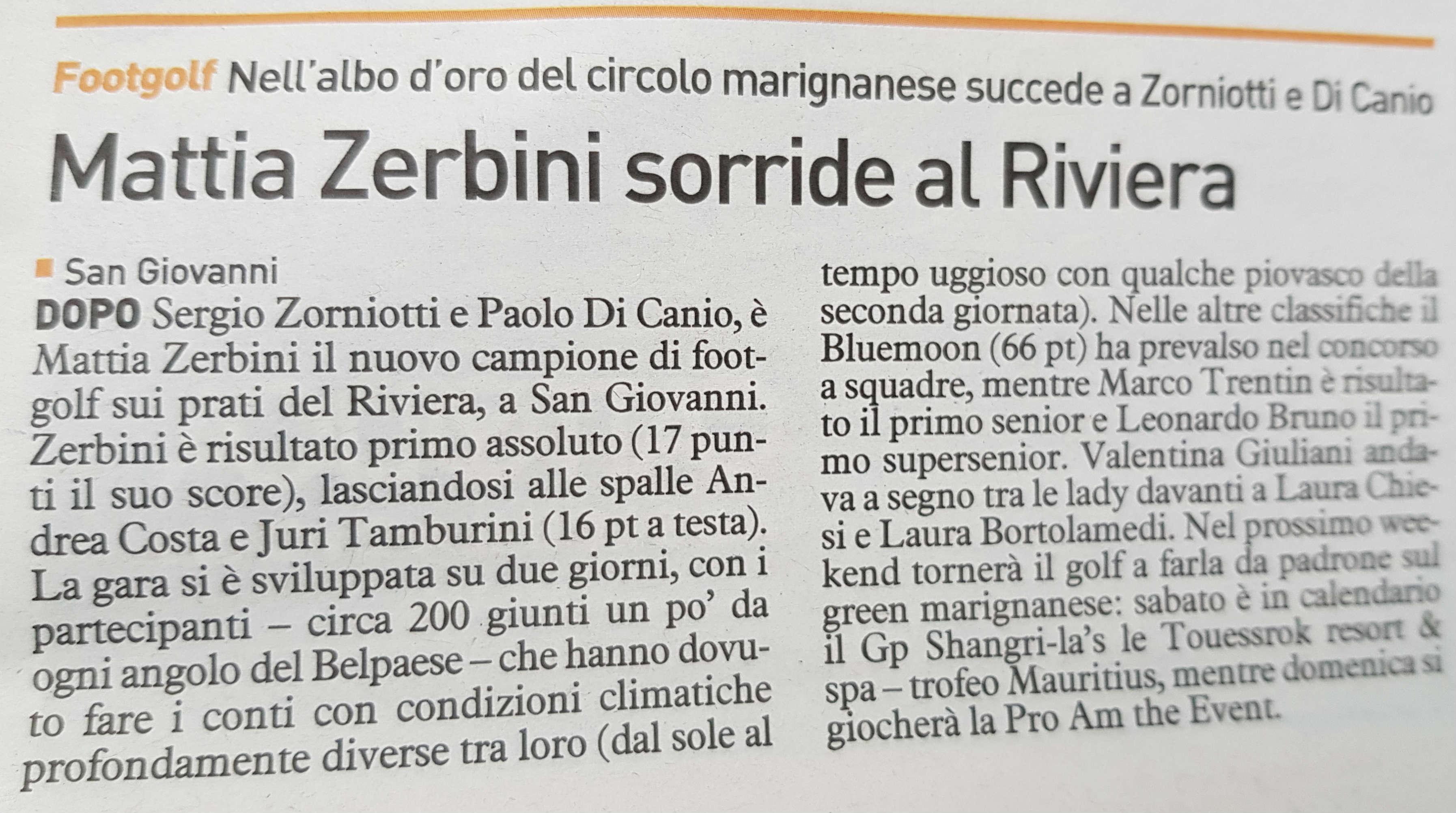 Mattia Zerbini sorride al Riviera